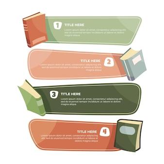 Infografía de libros dibujados a mano