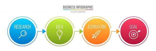 Infografía línea paso opciones, plantilla de negocio.