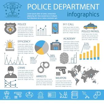 Infografía de línea policial coloreada con crimen policial arresta academia descripciones de armas y gráficos ilustración vectorial