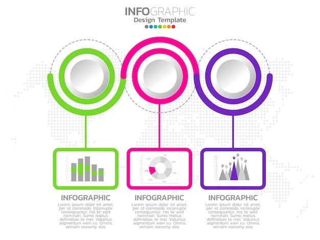 Infografía de línea de tiempo con 3 pasos de flechas.