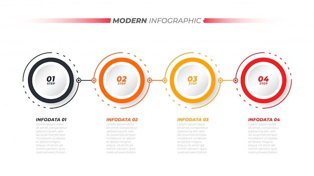 Infografía de línea de tiempo con 4 opciones