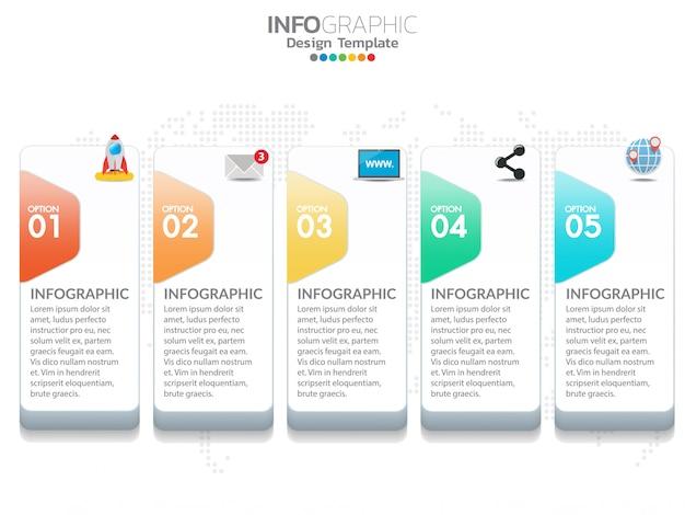 Infografía de la línea de tiempo de 5 pasos concepto de negocio