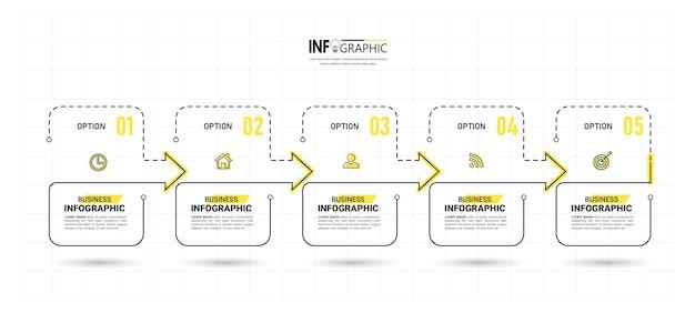 Infografía de línea de tiempo de 5 pasos
