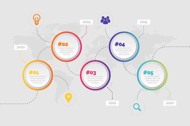 Infografía de línea de tiempo de botones circulares