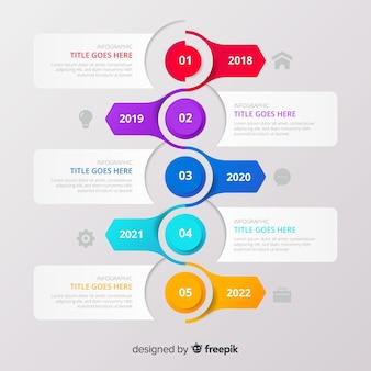 Infografía de línea de tiempo con botones