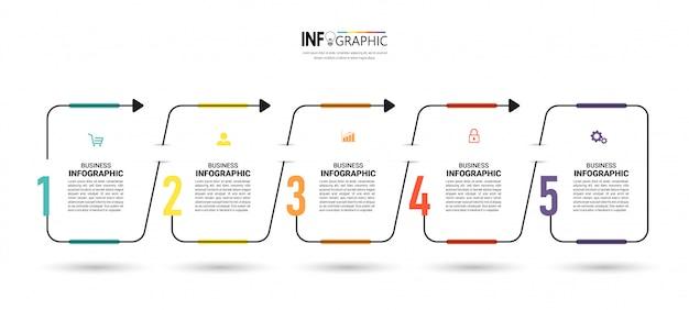 Infografía de línea de tiempo de cinco pasos con concepto de línea delgada