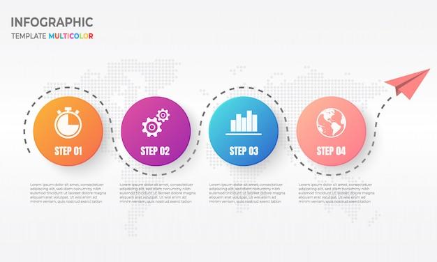 Infografía de línea de tiempo con círculo 4 opciones