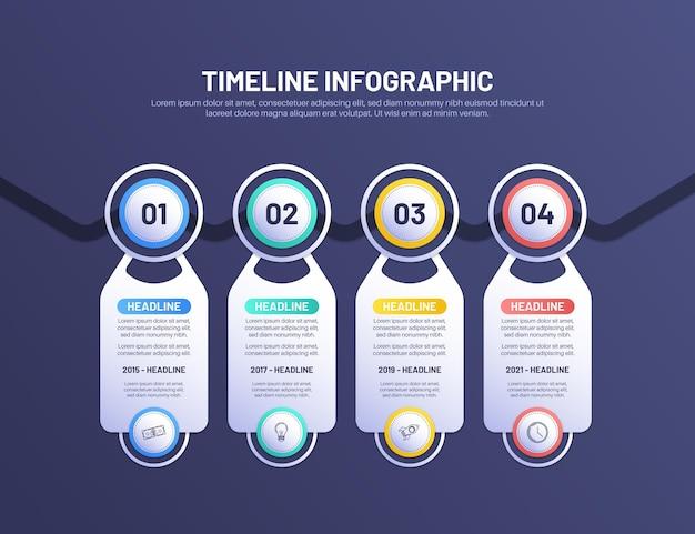 Infografía de línea de tiempo de color degradado