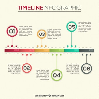 Infografía línea del tiempo de colores