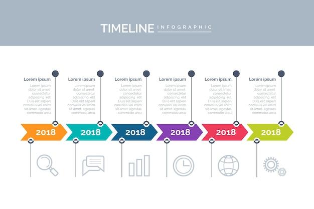 Infografía de línea de tiempo colorida plana