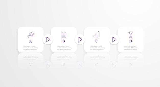 Infografía de línea de tiempo cuadrado horizontal 4 pasos