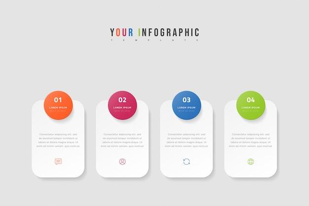 Infografía de línea de tiempo con cuatro opciones, pasos o procesos. diseño de plantillas coloridas