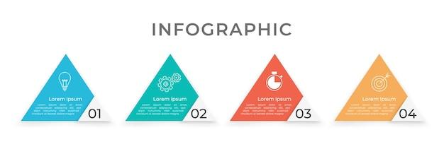 Infografía de línea de tiempo cuatro opciones de triángulo.