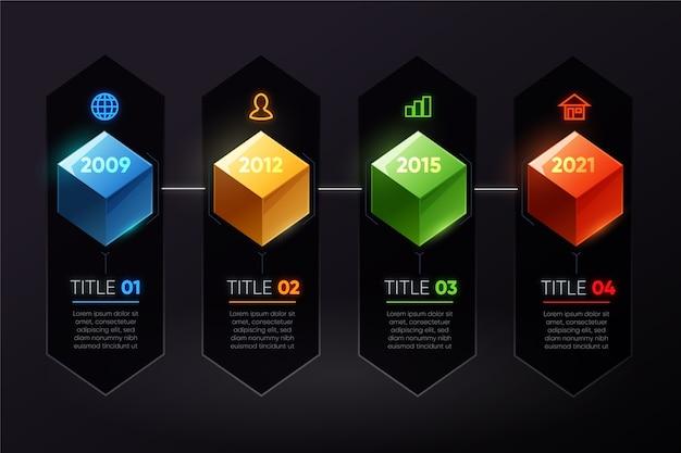 Infografía de línea de tiempo de cubos coloridos