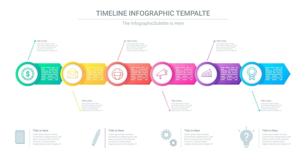 Infografía de línea de tiempo degradada para presentación.