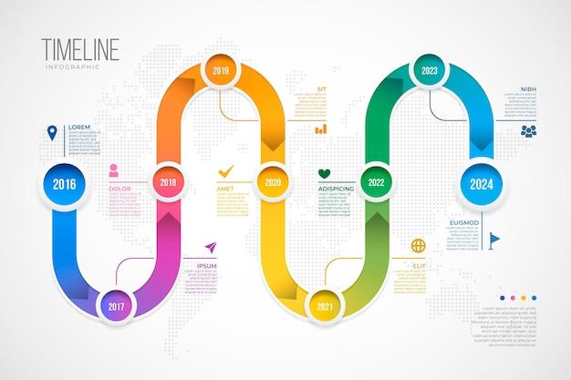 Infografía de línea de tiempo degradada