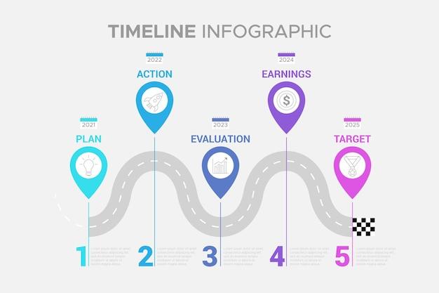 Infografía de línea de tiempo de diseño plano en diferentes colores.
