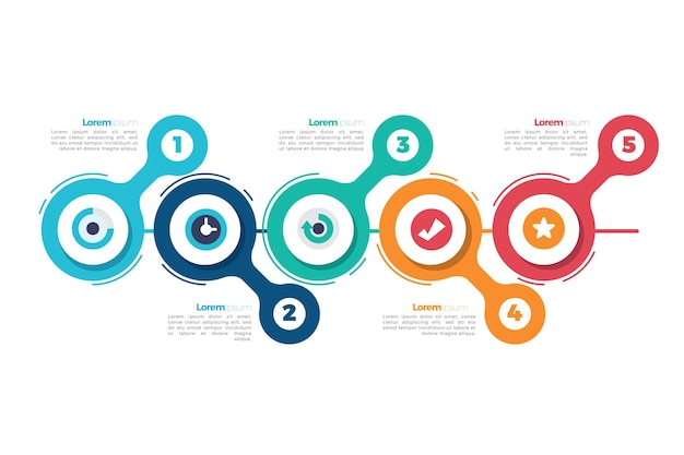 Infografía de línea de tiempo de diseño plano