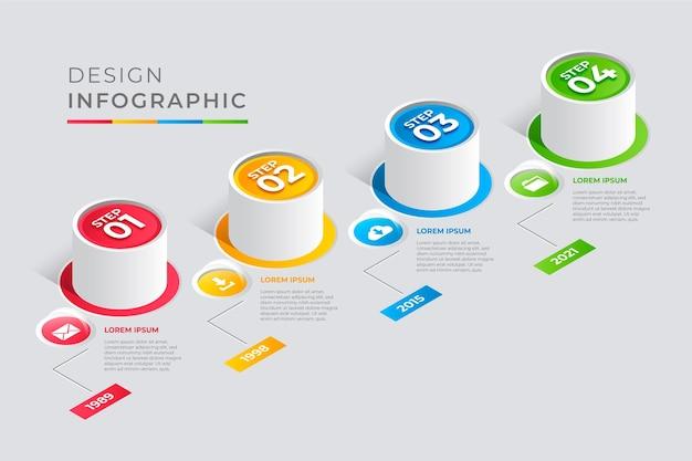 Infografía de línea de tiempo de estilo isométrico