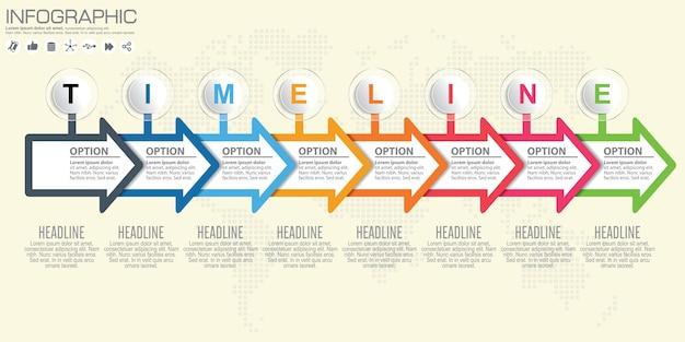 Infografía de línea de tiempo y flecha. fondo del mapa del mundo