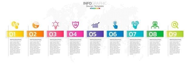 Infografía de línea de tiempo con iconos de paso y marketing