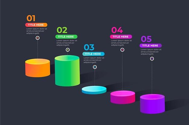 Infografía de línea de tiempo isométrica