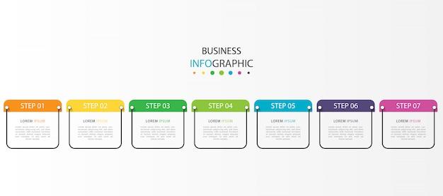Infografía de línea de tiempo moderna con 7 pasos u opciones