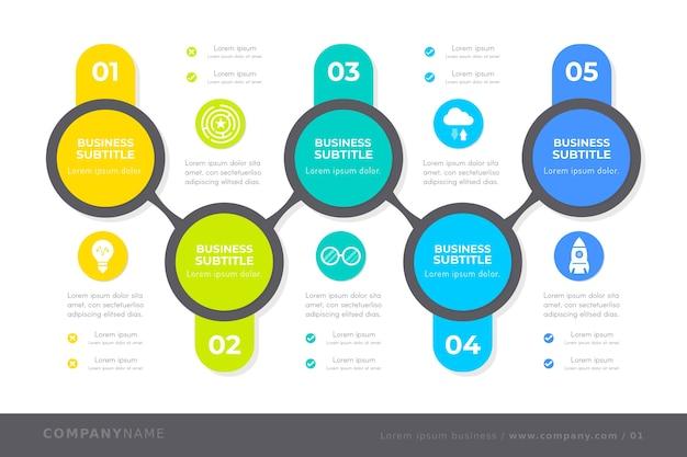 Infografía de línea de tiempo multicolores