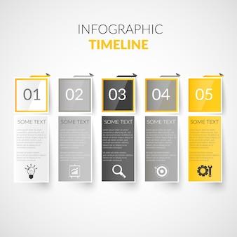 Infografía de línea de tiempo de papel