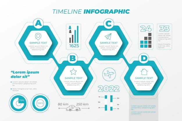 Infografía de línea de tiempo plana colorida