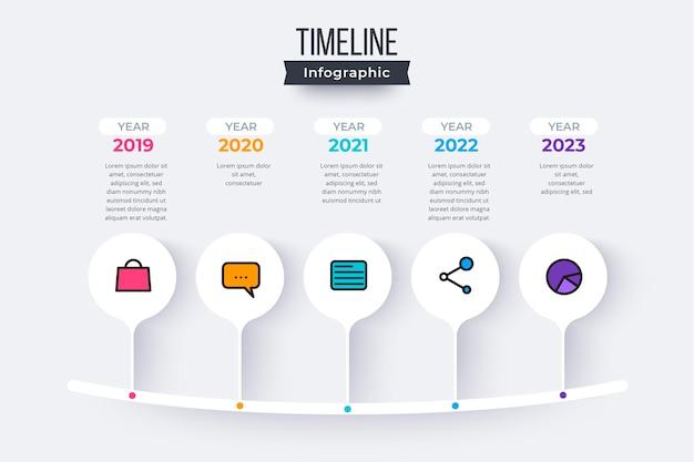 Infografía de línea de tiempo plana