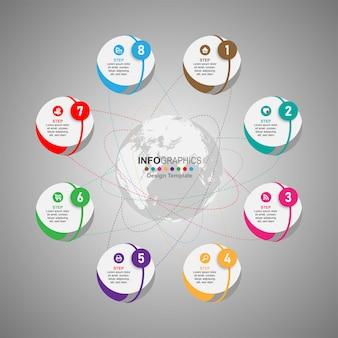Infografía de línea de tiempo de proceso empresarial 8 pasos.