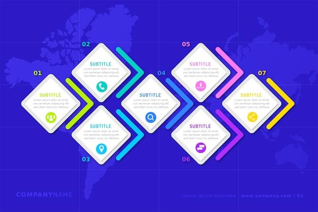 Infografía de línea de tiempo en varios colores.