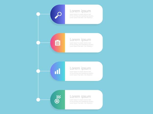 Infografía de línea de tiempo vertical plantilla de 4 pasos
