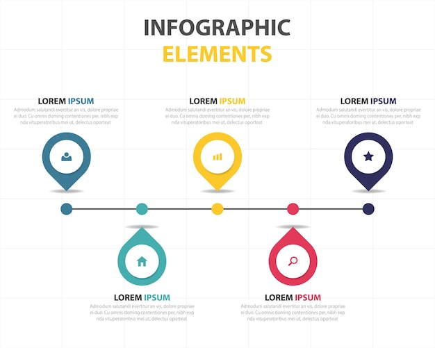 Infografía lineal con 5 colores