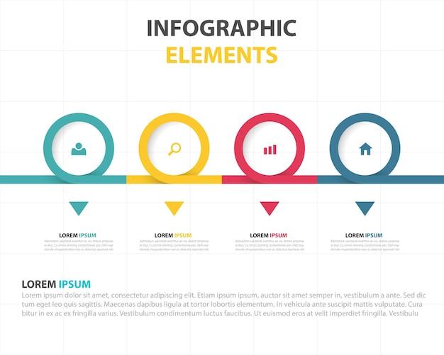 Infografía lineal con circulos de colores