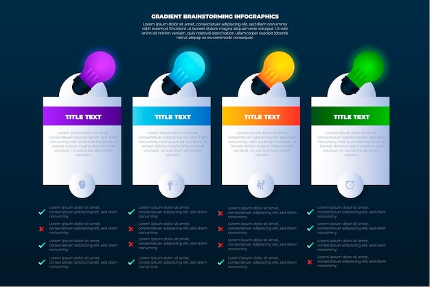 Infografía de lluvia de ideas degradada