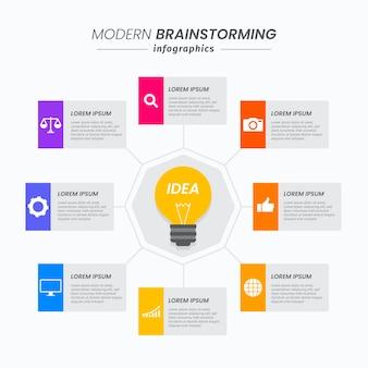 Infografía de lluvia de ideas plana