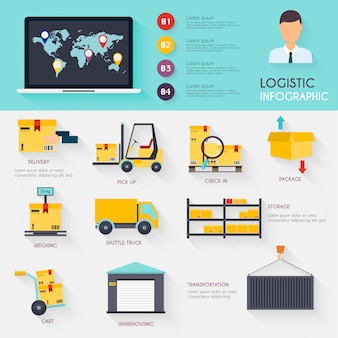 Infografía logística conjunto de iconos de almacén plano logístico en blanco y transporte, almacenamiento.