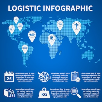 Infografía logística iconos