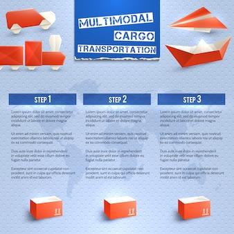 Infografía logística de origami