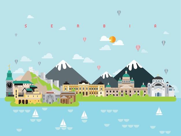 Infografía de lugares famosos de serbia