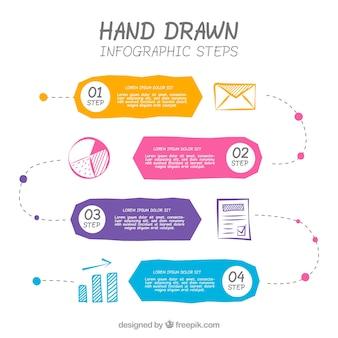 Infografía a mano con estilo colorido
