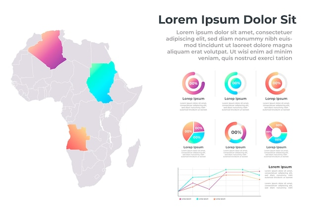 Infografía de mapa de áfrica de diseño plano