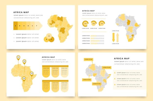 Infografía de mapa de áfrica en diseño plano