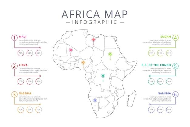 Infografía de mapa de áfrica lineal