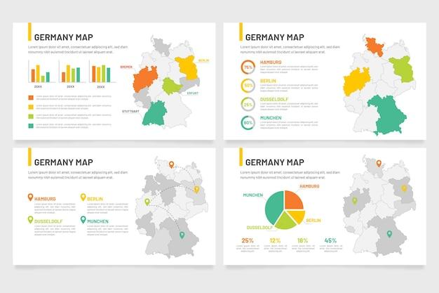 Infografía de mapa de alemania en diseño plano