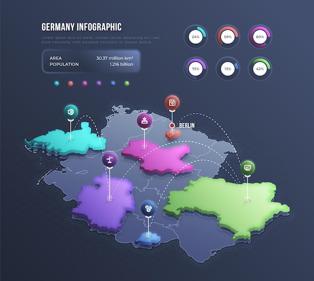 Infografía de mapa de alemania isométrica