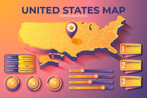 Infografía de mapa de américa isométrica