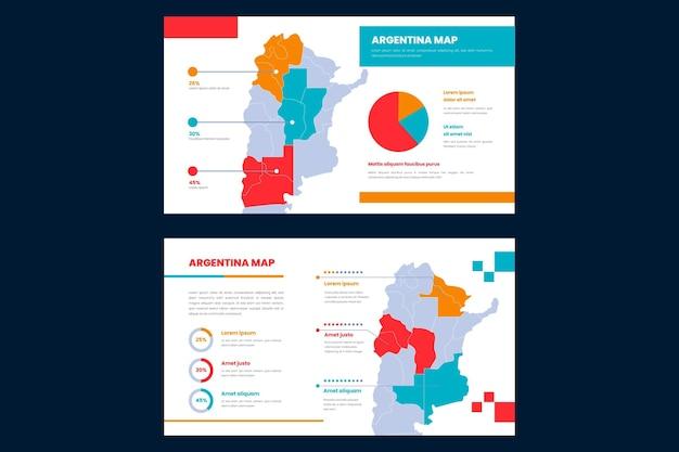 Infografía de mapa de argentina en diseño plano